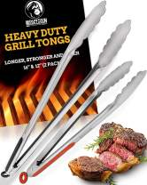 """Grill Tongs for Cooking BBQ - Heavy Duty Grilling Tongs for Cooking & Serving Food in The Sizes You Need - 12 & 16"""" - Long Locking Stainless Steel Tongs for Kitchen & Barbecue - No More Burnt Hands"""