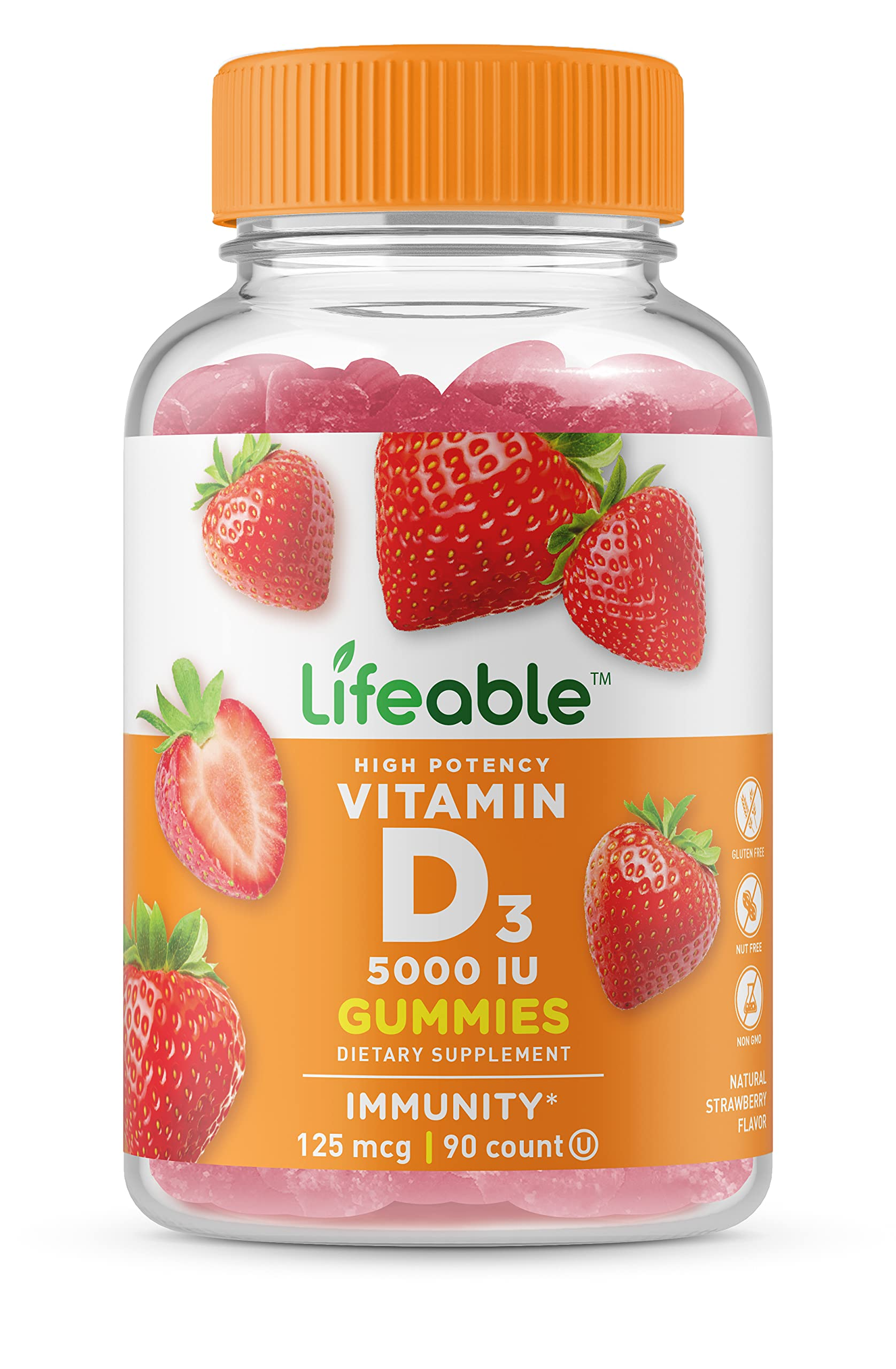 Lifeable Vitamin D 5000 IU High Potency Gummies – Tooth Friendly – Vegetarian, GMO-Free & Gluten Free – Great Tasting Mixed Berry Flavor Pectin Chews – Dietary Supplement – 90 Jellies [45 Doses]