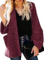 Happy Sailed Womens Casual Open Front Long Sleeve Cardigan Loose Sweater Coat with Pockets S-XXL