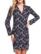 Zeagoo Women Long Sleeve Floral A-Line Knee Length Casual T Shirt Dress S-XXL