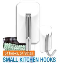 PermaStik Small Removable Adhesive Wire Kitchen Hooks, Holds 1.1 Pounds Each, 54 Count, White