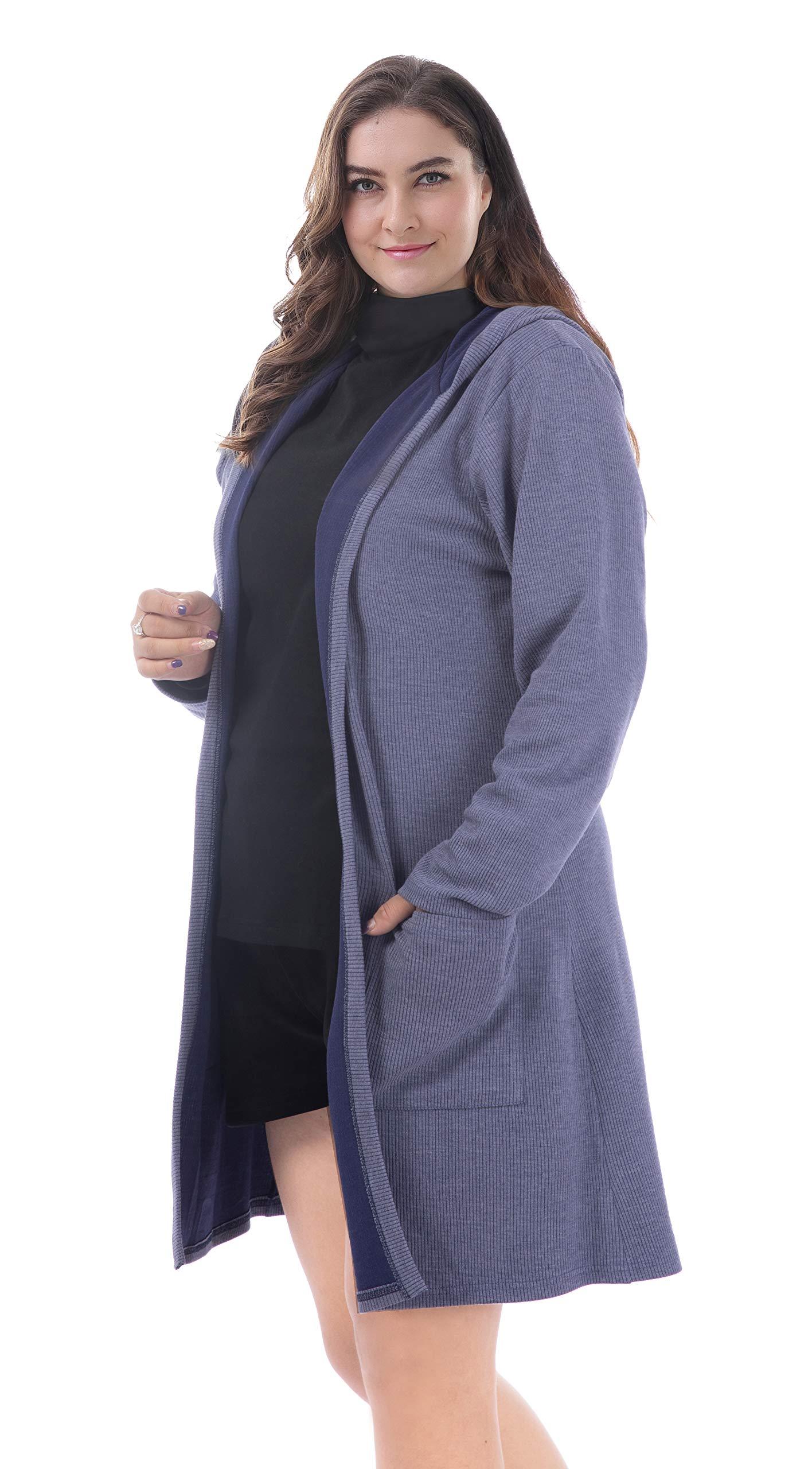 ZERDOCEAN Women's Plus Size Open Front Hoodie Cardigans Knit Outwear with Pockets