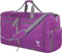 "Bago 60L Packable Duffle bag for women & men - 23"" Foldable Travel Duffel bag (Purple)"