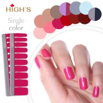 HIGH'S Single Color Series Classic Collection Manicure Nail Polish Strips Nail Wraps, Dark Salmon