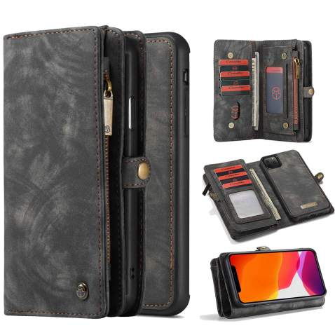 Harsel 11 Card Slot [Magnetic Closure] Detachable Removable Flip Handmade Premium Cowhide Leather Wallet Purse Case with Zipper Case Protective Cover for iPhone 11 Pro Max (Black)