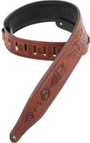 Levy's Leathers M17T02-WAL Carving Leather Tooled Guitar Strap,Walnut