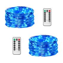 JMEXSUSS 2 Pack Blue Battery Operated Fairy Lights, 65.6ft 200 LED Remote Control Fairy String Lights, 8 Mode Fairy Lights for Indoor Decoration