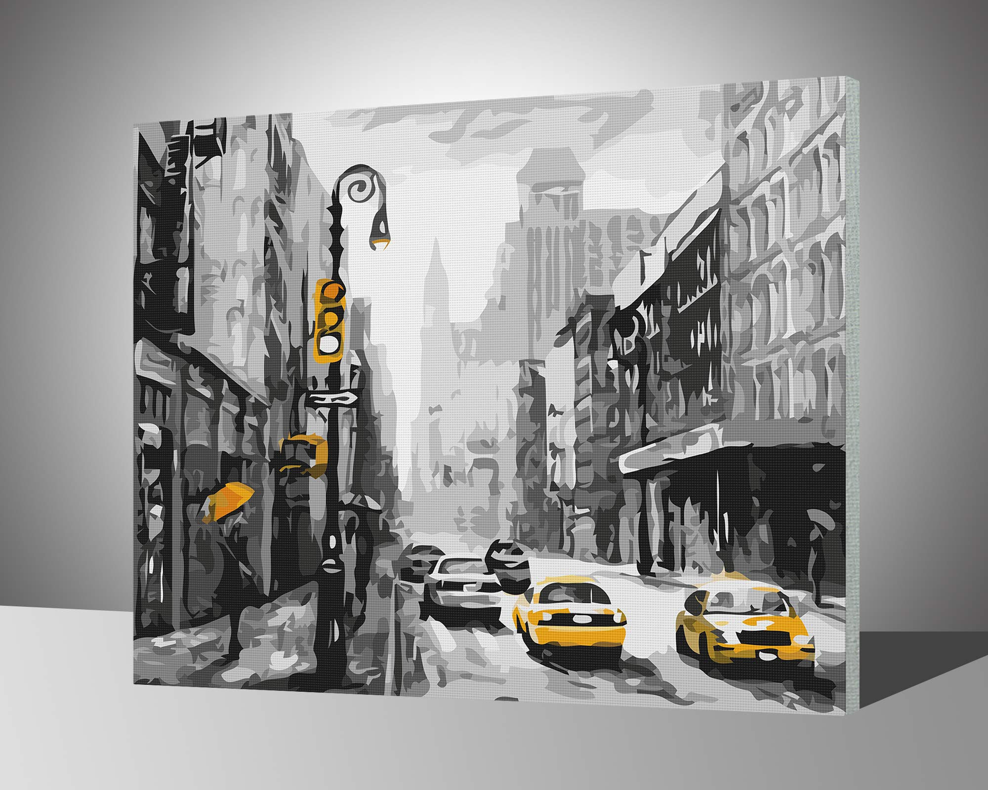"Paint by Numbers for Adults with Frame by BANLANA, DIY Adult Paint by Number Kits for Beginners on Canvas Wooden Framed 16"" by 20"" (Street View of New York, Framed)"