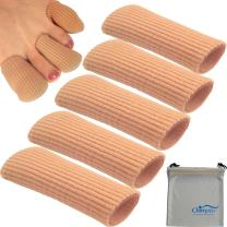 Chiroplax Gel Finger Toe Cap Sleeve (5 Long Caps+ 1 Pouch), Toe Protector Tube, Soft Fabric with Silicone Lining for Bunion, Hammer Toe, Callus, Corn, Blister (Large)