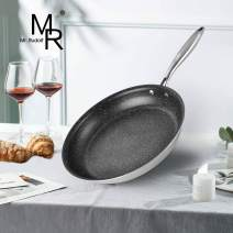 Mr Rudolf 18/10 Tri-Ply Bonded Stainless steel 12 inch Nonstick Frying Pan Skillet Pan PFOA Free Stone-Derived Non-Stick Granite Coating from the US whitford coating…