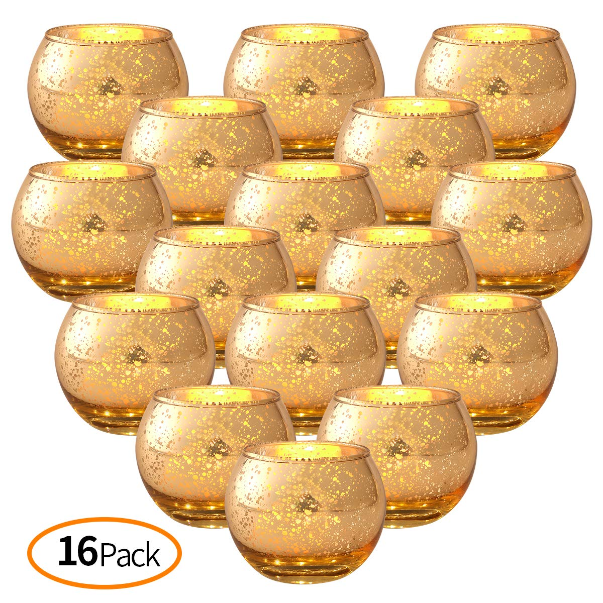 DerBlue 16Pcs Round Mercury Glass Votive Candle Holders for Wedding Centerpieces, Valentines Dinner, Garden Tub and Any Theme Events(Gold)