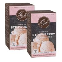 Triple Scoop Ice Cream Mix, Premium Strawberry, starter for use with home ice cream maker, no artificial colors or flavors, ready in under 30 mins, makes 4 qts (2 15oz boxes)
