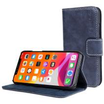 Snugg iPhone 11 Pro Max Wallet Case – Leather Card Case Wallet with Handy Stand Feature – Legacy Series Flip Phone Case Cover in Riverside Blue