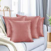 """Nestl Bedding Throw Pillow Cover 16"""" x 16"""" Soft Square Decorative Throw Pillow Covers Cozy Velvet Cushion Case for Sofa Couch Bedroom, Set of 4, Misty Rose"""