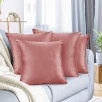 "Nestl Bedding Throw Pillow Cover 18"" x 18"" Soft Square Decorative Throw Pillow Covers Cozy Velvet Cushion Case for Sofa Couch Bedroom, Set of 4, Misty Rose"