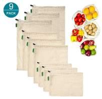 Reusable Produce Bags, Set of 9 Mesh Produce Bags Eco Friendly Drawstring Bags Zero-Waste Organic Vegetable Bag Washable Cotton Shopping Bag (3 Small, 3 Medium, 3 Large)
