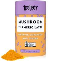 Teelixir Mushroom Turmeric Latte (3.5 oz) Certified Organic Golden Milk Powder with Cordyceps Superfood Mushroom Extract, Curcumin and Ginger - Vegan, Paleo, Gluten Free, Unsweetened, Non GMO