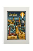 London, England - Retro Skyline (11x14 Double-Matted Art Print, Wall Decor Ready to Frame)