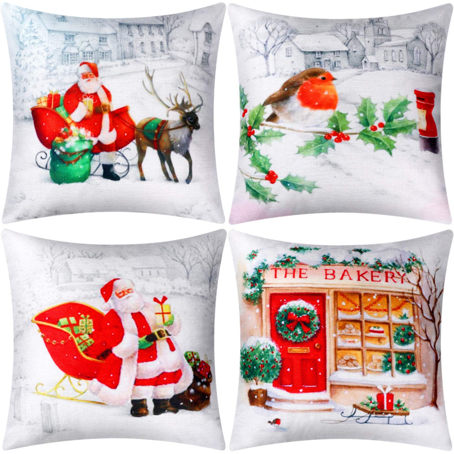 Jetec 4 Pieces Pillow Case Throw Cushion Cover Cotton Linen Pillow Decorations for Halloween Thanksgiving Christmas Autumn, 18 by 18 inch (Color Set 14)