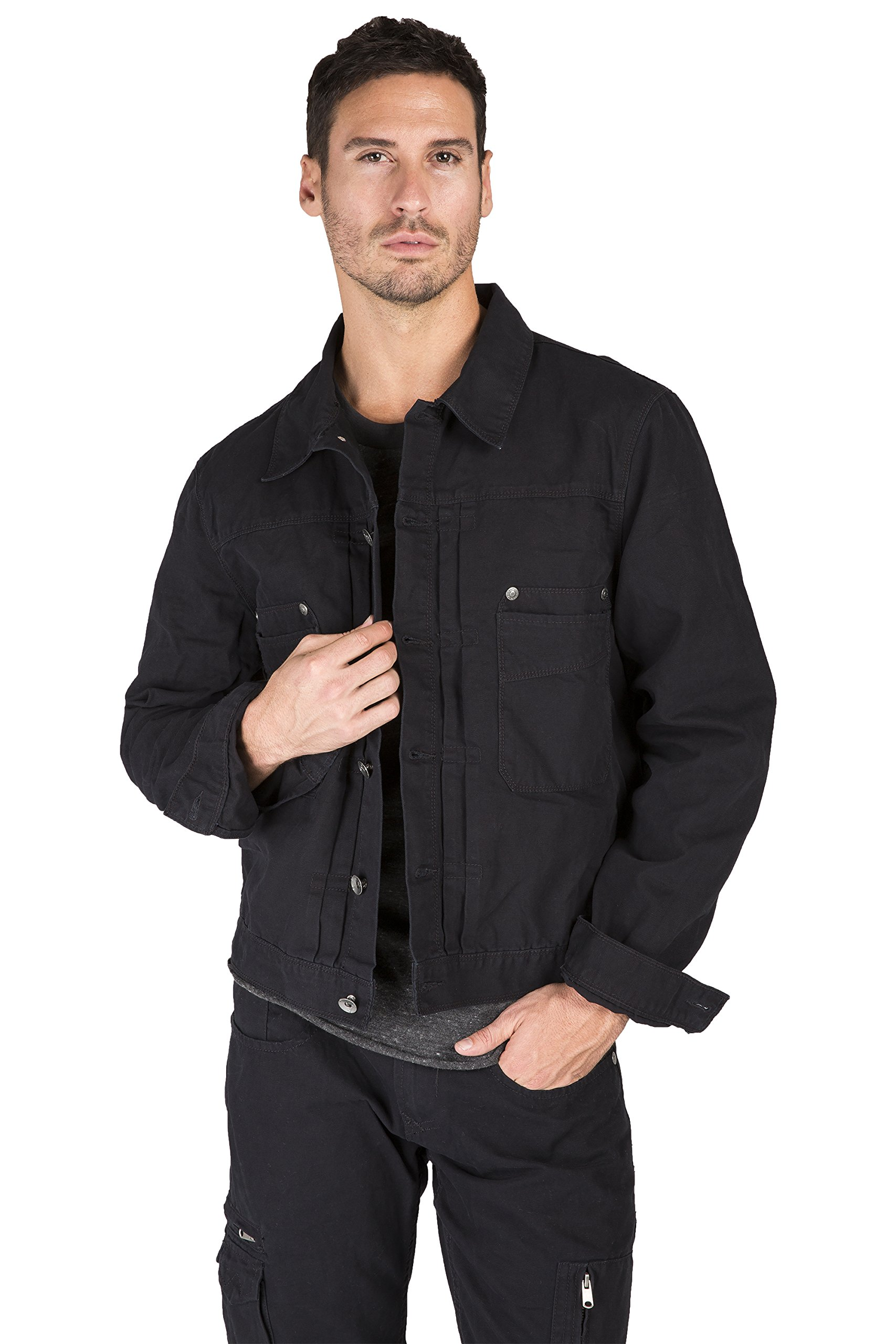 Level 7 Men's Cotton Canvas Trucker Jacket Timber Color Heavy Rugged Wash