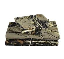 Chezmoi Collection Salem 4-Piece Forest Woods Sheet Set - Nature Camo Tree Leaves Printed Soft Microfiber Sheets - King, Natural