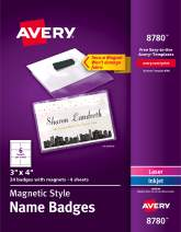 Avery Secure Magnetic Name Badges, Durable Plastic Holders, Heavy-Duty Magnets, 3 x 4, 24 Badges (8780)