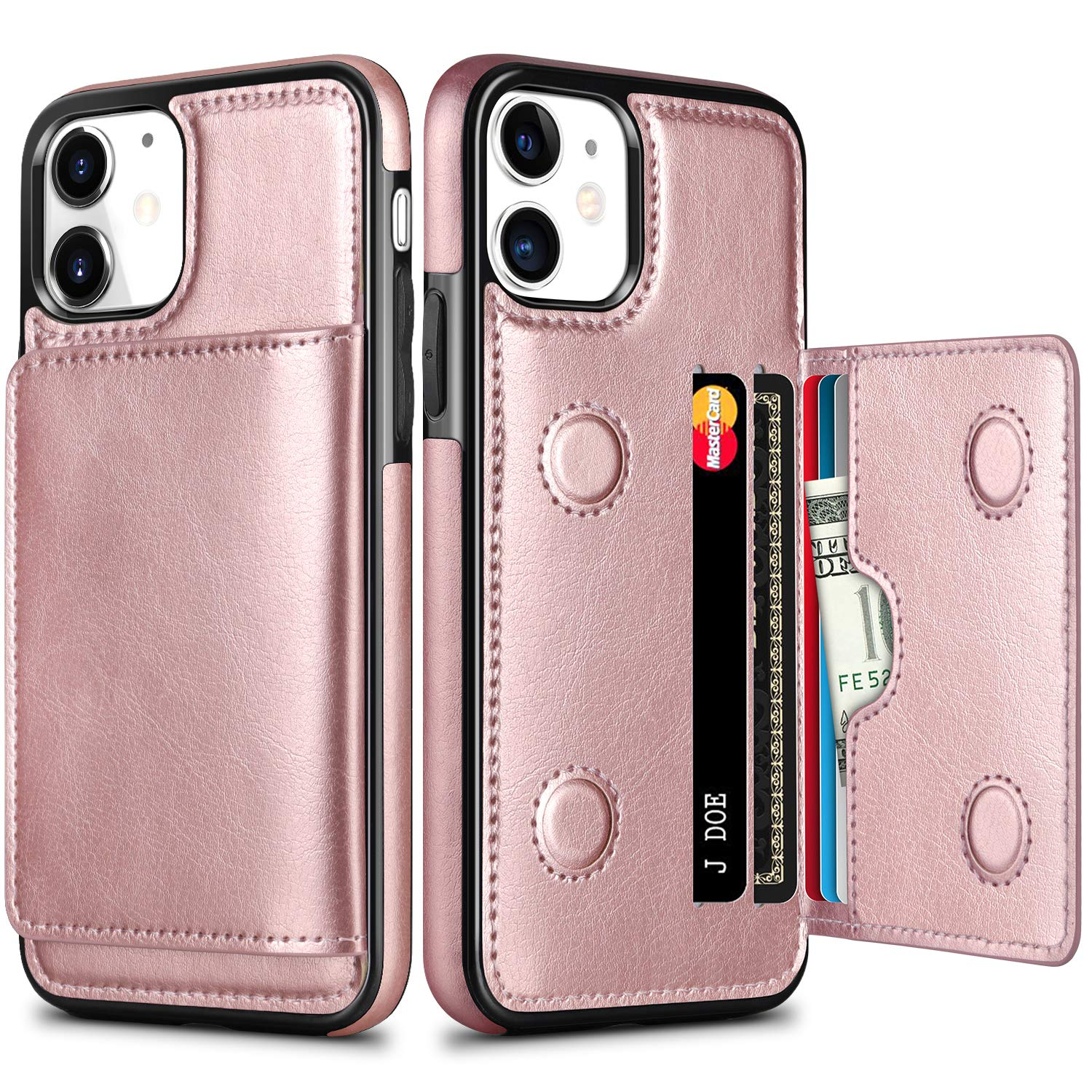 HianDier Wallet Case for iPhone 11 Case with Card Holder PU Leather Kickstand Card Slots Cover Protective Magnetic Closure Shockproof Flip Back Case for iPhone 11 6.1-inch, Rose Gold