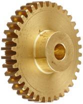 "Boston Gear G261 Spur Gear, 14.5 Pressure Angle, Brass, Inch, 24 Pitch, 0.250"" Bore, 1.583"" OD, 0.250"" Face Width, 36 Teeth"