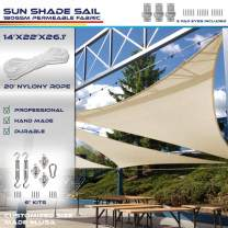 Windscreen4less 14' x 22' x 26' Right Triangle Sun Shade Sail with 8 inch Hardware Kit - Blue Durable UV Shelter Canopy for Patio Outdoor Backyard - Custom Size