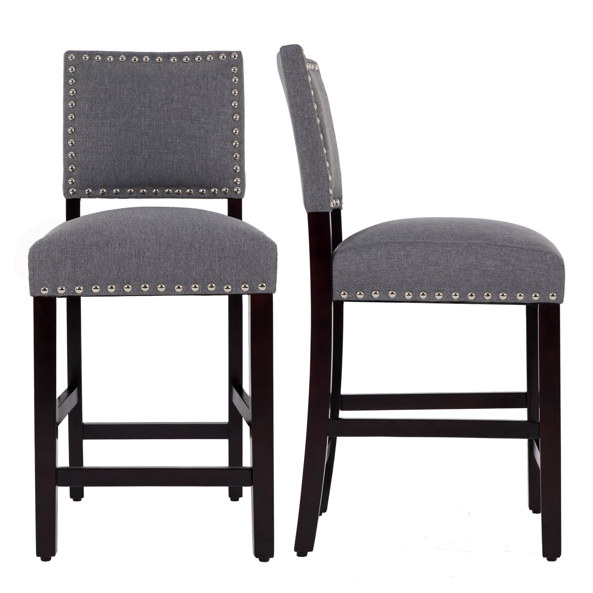 DAGONHIL 24 Inches Counter Height Bar Chair with Black Solid Wood Legs-Set of 2 (Gray)