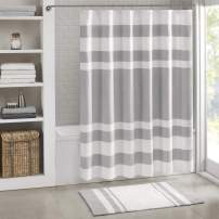 Madison Park Spa Waffle Shower Curtain Pieced Solid Microfiber Fabric with 3M Scotchgard Water Repellent Treatment Modern Home Bathroom Decorations, Stall 54X78, Grey