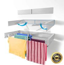 """Step Up Laundry Drying Rack - Wall Mounted - Retractable - Clothes Drying Rack Collapsible Folding Indoor or Outdoor – Compact Sleek Design, 60lbs Capacity, 20 Linear Ft (White - 40"""")"""