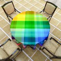 """VVA Vintage Rainbow Round Tablecloth,Retro Plaid Design Checkered Squares Colored Geometric Pattern Circular Table Cloth for Family Dinners or Gatherings, Indoor Outdoor Events or Parties, 50""""inch"""