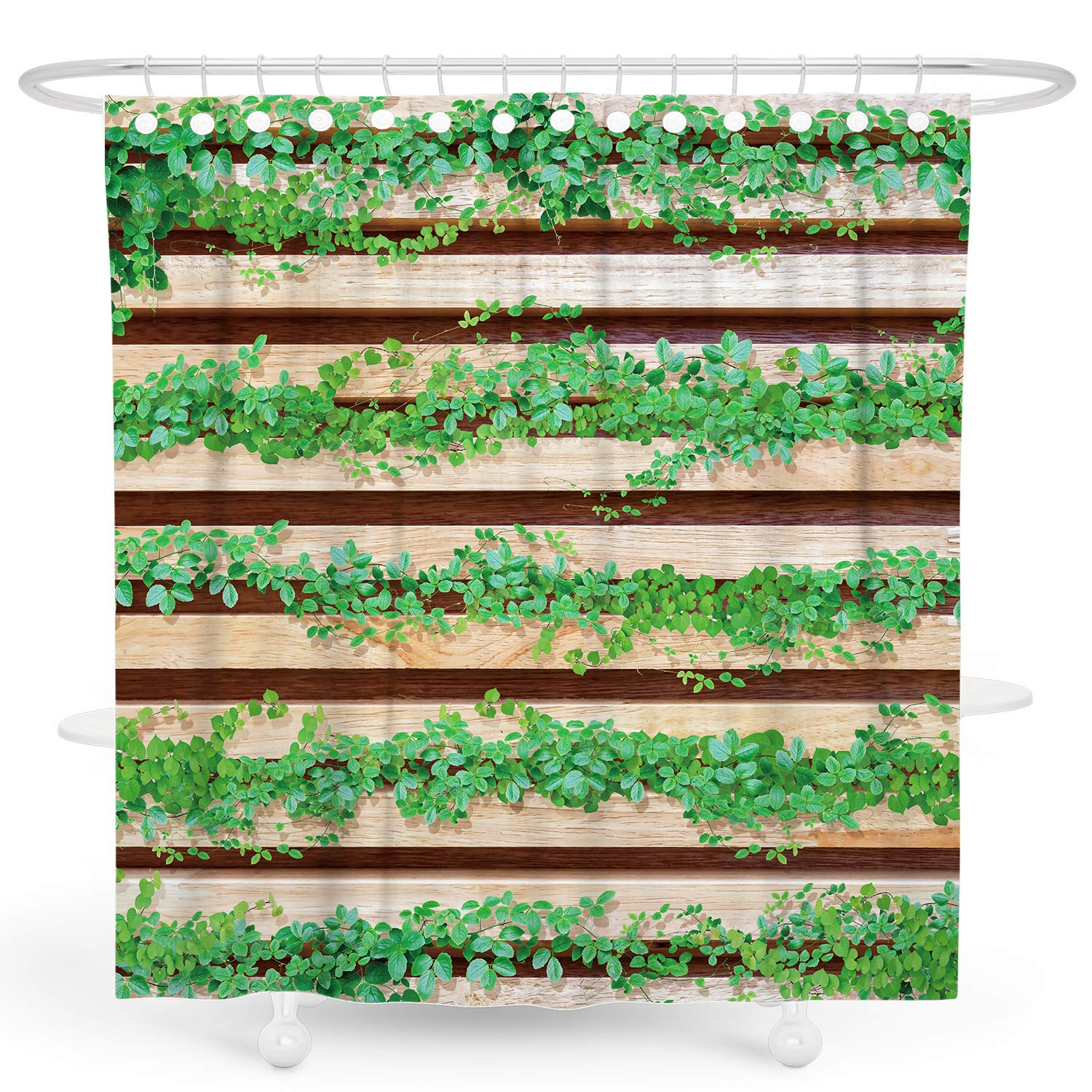 Desihom Green Plant Shower Curtain Rustic Wooden Shower Curtain Botanical Leaf Shower Curtain Farmhouse Shower Curtain Primitive Country Shower Curtain Summer Polyester Waterproof Shower Curtain 72x72