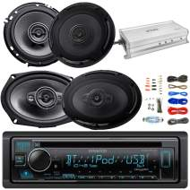 "Kenwood Single DIN in-Dash Built-in Bluetooth USB AUX AM/FM CD Player Receiver, Kenwood 6x9 4-Way 600W Peak Car Audio Speakers, 6.5"" 2-Way 320W Speakers, 4-Ch. Amplifier, Amp Wiring Kit"