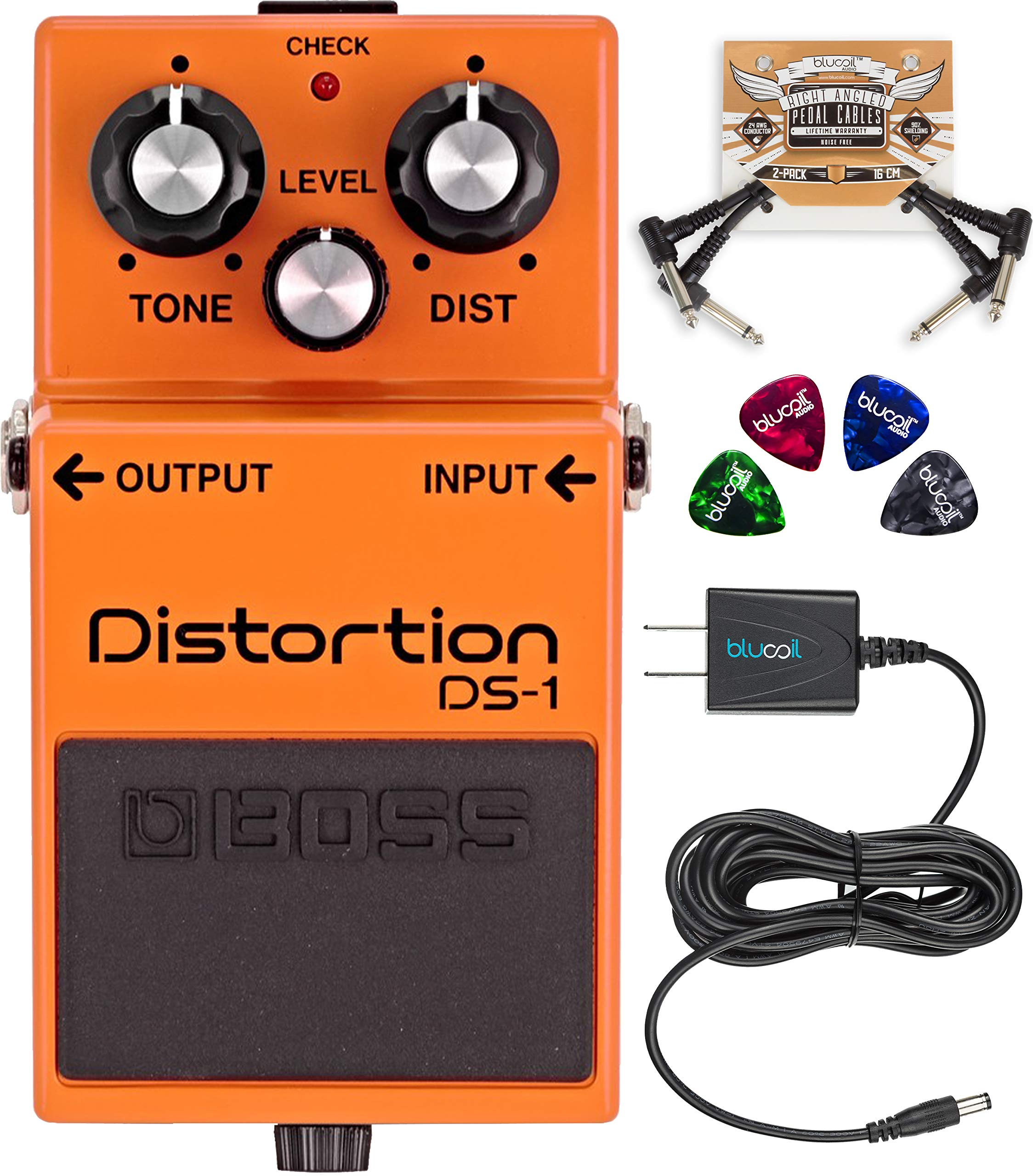 Boss DS-1 Distortion Electric Guitar and Keyboard Effects Pedal with FREE Cables