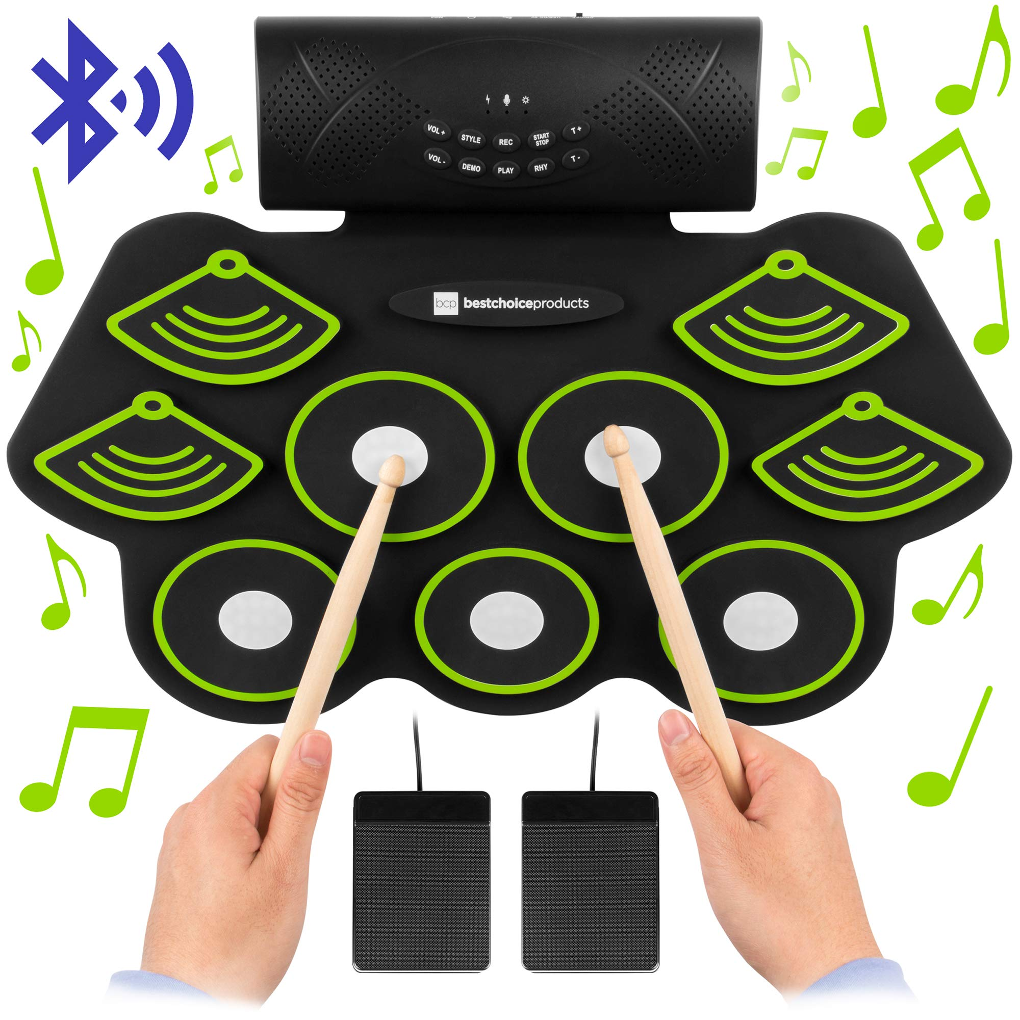 Best Choice Products 9 Pad Roll Up Bluetooth Electric Drum Set w/Headphone Jack, Speaker, Pedals, Rechargeable Battery