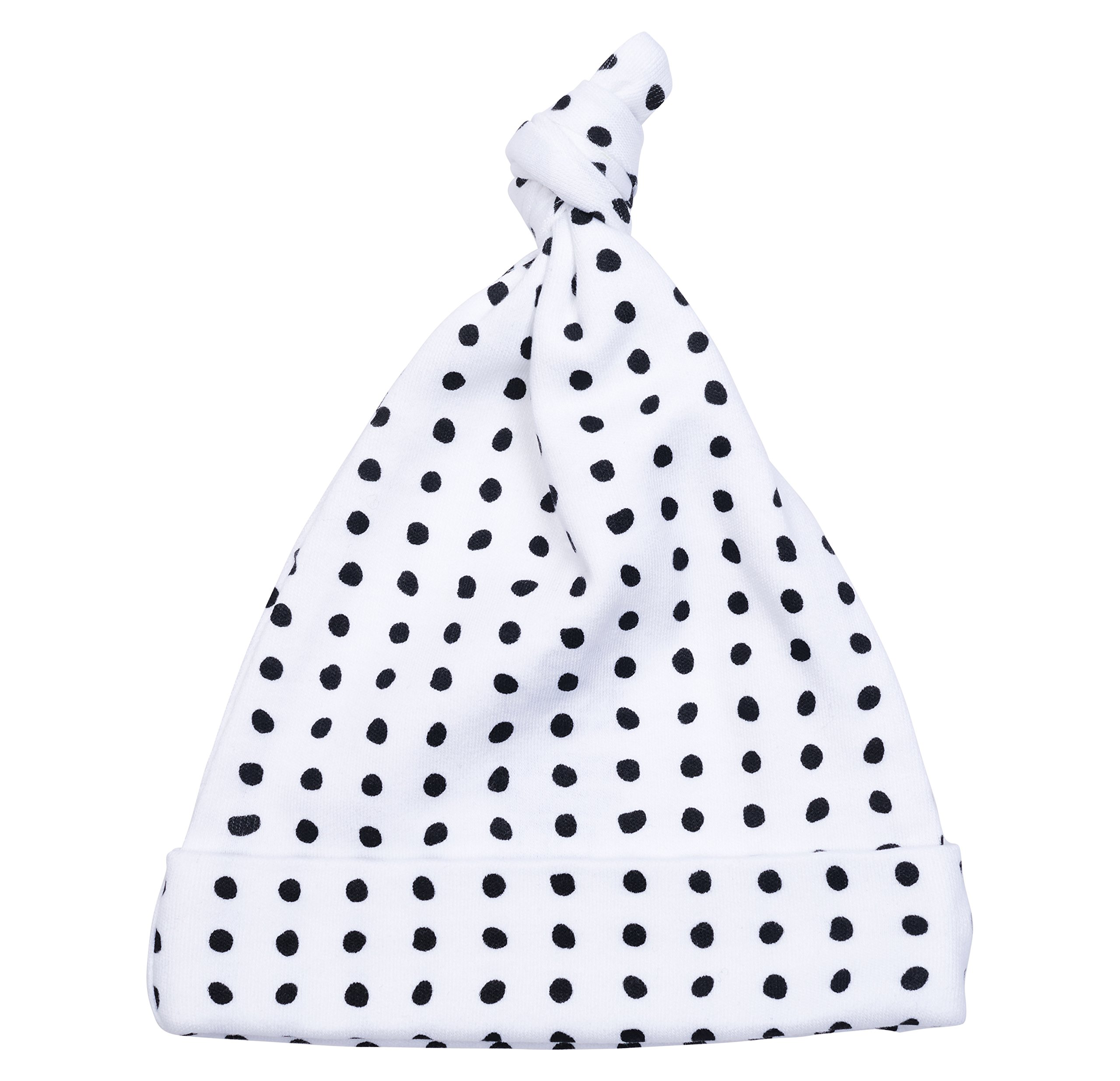 Cole + Cleo Unisex Baby Organic Cotton Knot Hat Soft Infant Cap Black and White