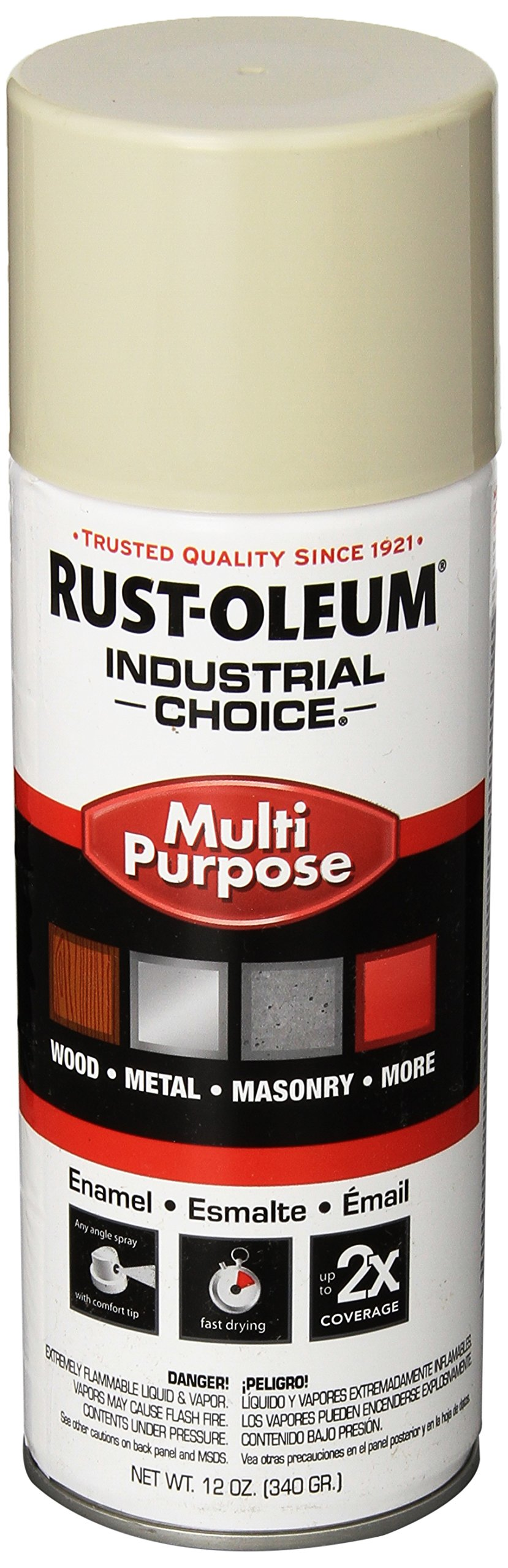Rust-Oleum 1672830 Almond 1600 System General Purpose Enamel Spray Paint, 16 fl. oz. container, 12 oz. weight fill, Can (Pack of 6)