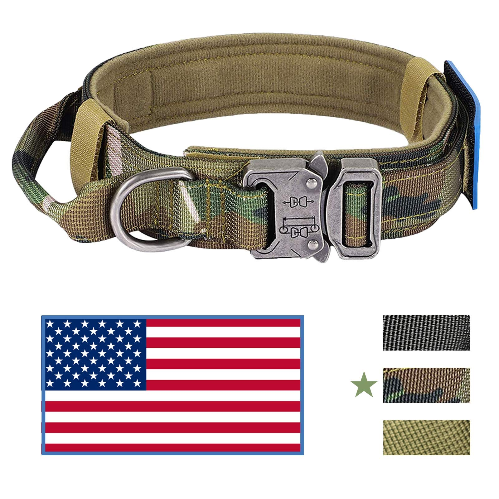 KUSSONLI Dog Collar for Medium Large Dogs,Soft Comfortable Adjustable Collars Sizes,Double-Layer Thick Military Specification Nylon Zinc Alloy Metal Safety Locking Buckle,American Flag,Camo,L