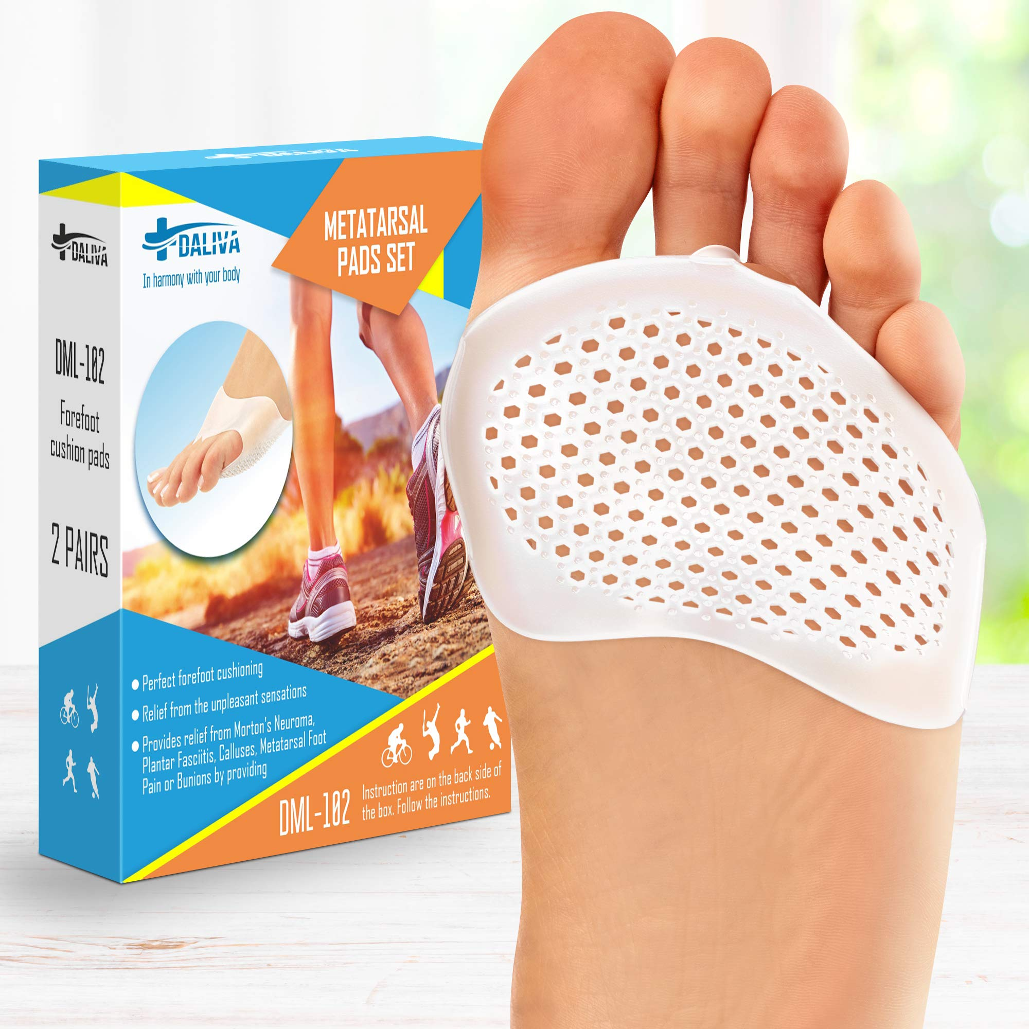 Ball of Foot Cushions (2 Pairs) - Metatarsal Pads | Soft Gel Forefoot Pads - Foot Sleeve with Soft Gel Sole - Mortons Neuroma - Prevent Pain