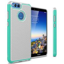 CoverON Heavy Duty Hybrid HexaGuard Series for Huawei Mate SE/Honor 7X Case, Teal on Gray