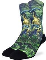 Good Luck Sock Men's Duckbilled Dinosaur Socks - Green, Adult Shoe Size 8-13