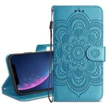 HianDier Wallet Case for iPhone XR Card Holder Case Kickstand Flip Cover Embossed Mandala Flower Lanyard Protective Soft PU Leather Cover Case for iPhone XR, Lake Blue