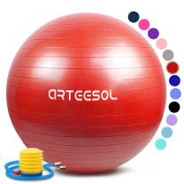 arteesol Exercise Ball, Anti-Burst Yoga Ball with Quick Pump Birthing Ball 45cm/55cm/65cm/75cm/85cm Thick Balance Ball Chair for Birthing Fitness Workout Stability Pilates, Gym & Home