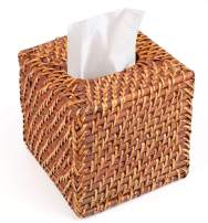 Yesland Rattan Tissue Box Cover - 5.8 x 5.8 x 5.5 Inches - Ideal for Living Room, Bedroom, Bathroom in Indoor and Outdoor Use(Square Brown)