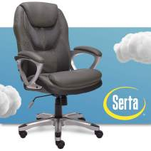 Serta Executive Office Padded Arms Adjustable Ergonomic Gaming Desk Chair with Lumbar Support, Faux Leather and Mesh, Light Gray