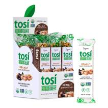 Tosi Organic SuperBites Vegan Snacks, Peanut Dark Chocolate with Sea Salt, 1oz (Pack of 12), Gluten Free, Omega 3s, Plant Protein Bars with Flax and Chia Seeds