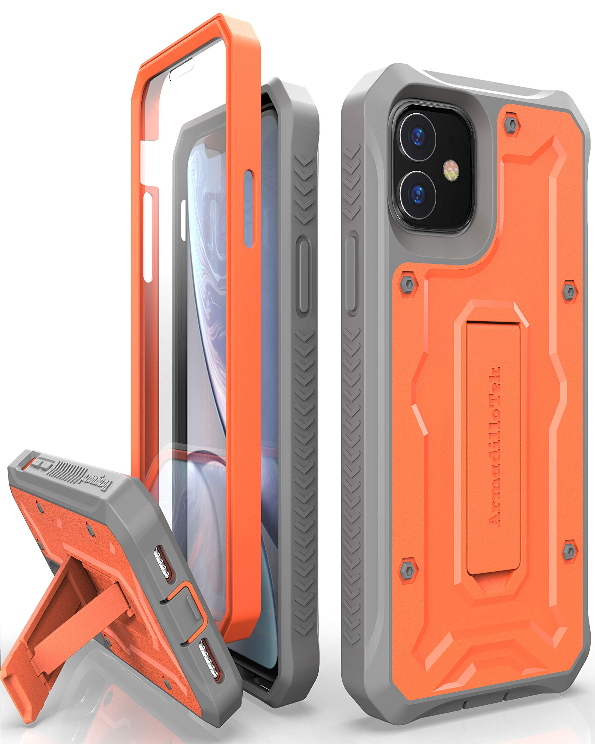 ArmadilloTek Vanguard Designed for iPhone 11 Case (6.1 inches) Military Grade Full-Body Rugged with Kickstand and Built-in Screen Protector - Orange