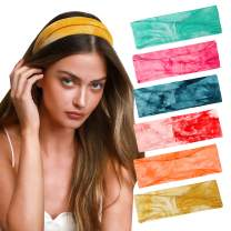 6 Pack Women Headbands Workout Fashion Hair Bands Floral Boho Knotted Headwraps Printed Sweatband Women and Girls